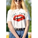 Street Fashion Mouth Lips Letter Print Round Neck Short Sleeves Summer T-shirt