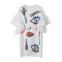 Abstract Eye Mouth Face Pattern Ruffle Chiffon Patchwork Mini T-shirt Dress