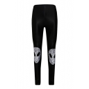 Fashion Mask Printed Elastic Waist Skinny Sports Leggings
