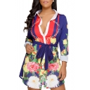 Fashionable Floral Chain Print Color Block Bow Belted Dipped Hem Tunic Shirt