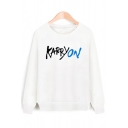 Cool Letter Print Round Neck Long Sleeves Pullover Sweatshirt