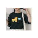 Leisure Loose Lovely Dog Letter Printed Round Neck Short Sleeve Tee