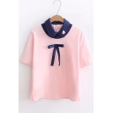 Fancy Color Block Sweetheart Embroidered Lapel Bow Detail Layered Tee