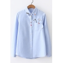 Pop Fashion Umbrella Embroidery Lapel Button Detail Long Sleeve Cup Pocket Shirt