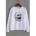 Hot Fashion Skull Pattern Round Neck Long Sleeves Pullover Sweatshirt
