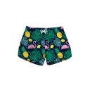 Cartoon Flamingo Leaf Printed Drawstring Waist Shorts with Pockets