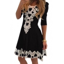 Spring Fashion Lace Panel Scoop Neck Half Sleeve Mini A-line Dress