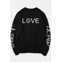 Sad Face Letter Printed Round Neck Long Sleeve Pullover Sweatshirt