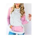 Spring Fashion Striped Color Block Turtleneck Pocket Front Slim Sweatshirt
