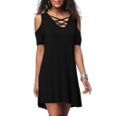 Summer Fashion Plain V-Neck Lace-up Detail Short Sleeve Cold Shoulder Mini T-shirt Dress
