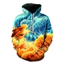 Stylish Dragon Print Long Sleeves Pullover Hoodie with Pocket