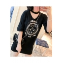 Summer Fashion Cat Pattern Hollow V-Neck Half Sleeve Loose Mini T-shirt Dress