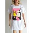 Chic Cartoon Duck Print Round Neck Short Sleeves Mini T-shirt Dress