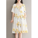 Lovely Printed Round Neck Short Sleeve Pleated Midi A-Line Dress