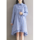 Classic Plaid Printed Lapel Collar Buttons Down Long Sleeve Ruffle Hem Detail Midi Shirt Dress