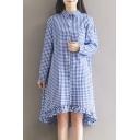 Classic Plaid Printed Lapel Collar Buttons Down Long Sleeve Ruffle Hem Detail Midi Shirt Dress