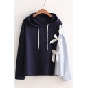 Trendy Color Block Bow Detail Long Sleeves Pullover Hoodie