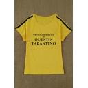 Retro Letter Striped Pattern Round Neck Short Sleeves Summer T-shirt