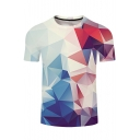 Hot Sale Geometric Printed Round Neck Short Sleeve Leisure Tee