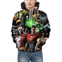 Digital Super Hero Printed Long Sleeve Oversize Hoodie