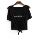 Simple Letter Printed Round Neck Short Sleeve Cold Shoulder Tied Front Cropped Tee
