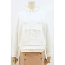 Simple Chic Pocket Front Long Sleeves Pullover Drawstring Hoodie