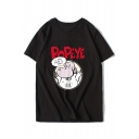 Trendy Cartoon Hippo Letter Print Round Neck Short Sleeves Summer T-shirt