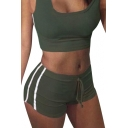 Sportive Striped Side Scoop Neck Slim Fit Tank Top with Drawstring Waist Shorts