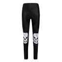 Skinny Skull Printed Elastic Waist Slim Sports Leggings