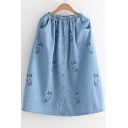 Lovely Cat Embroidered Elastic Waist Buttons Embellished Midi A-Line Denim Skirt