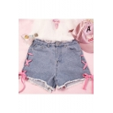 Girly Lace-up Side Zipper Fly Pocket Detail Ripped Hem Summer Denim Shorts