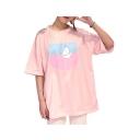 Dolly Cartoon Print Round Neck Half Sleeves Summer Women's T-shirt