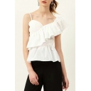 New Fashion One Shoulder Ruffle Detail Short Sleeve Zipper Plain Back Blouse