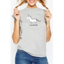Popular Unicorn Letter Print Round Neck Cap Sleeves Summer Slim Tee