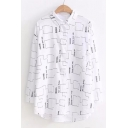 Letter Geometric Printed Lapel Collar Long Sleeve Single Breasted Dip Hem Shirt