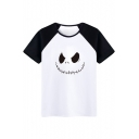 Fashionable Color Block Skull Cartoon Print Round Neck Short Sleeves Casual Tee