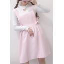 Cute Bow Side Plain Sleeveless Midi Overall Dress