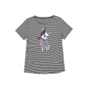 Lovely Sequined Dog Round Neck Striped Short Sleeve Tee