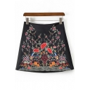 New Fashion Floral Embroidered Zipper Back Mini A-Line Skirt