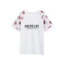 Floral Mesh Insert Short Sleeve Round Neck Letter Printed Tee