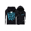 Hot Popular Letter Printed Back Long Sleeve Zip Up Sports Hoodie with Pockets