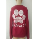 Stylish Paw Letter Print Round Neck Long Sleeves Pullover Sweatshirt