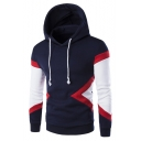 Leisure Color Block Long Sleeve Drawstring Hood Slim Hoodie
