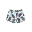 Lovely Pineapple Printed Drawstring Waist Leisure Shorts with Pockets