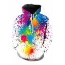 Colorful Oil Splash Printed Long Sleeve Loose Casual Hoodie with Pocket