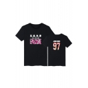 Daily Fashion Chinese Number Letter Print Round Neck Short Sleeves Casual Tee