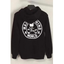 Cool Stylish Skull Letter Print Long Sleeves Pullover Hoodie with Pocket