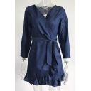 V Neck Long Sleeve Tied Waist Plain Ruffle Detail Mini A-Line Dress