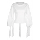Cute Puff Sleeve Round Neck Plain Hollow Out Tied Back Blouse