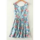Girlish Strawberry Floral Pattern Zip Back Sleeveless Mini Skater Dress